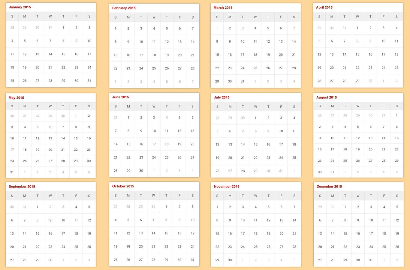 kalendar of 2015